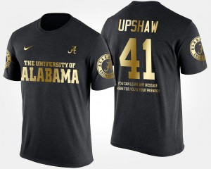 Alabama #41 Men's Courtney Upshaw T-Shirt Black Player Gold Limited Short Sleeve With Message 189936-801