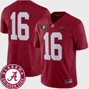 University of Alabama #16 For Men's Jersey Crimson 2018 National Championship Playoff Game College Football Official 871701-996