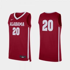 Alabama #20 Men Jersey Crimson College Basketball Replica NCAA 939681-473