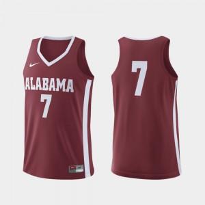 Alabama Crimson Tide #7 Mens Jersey Crimson University Replica College Basketball 437423-757