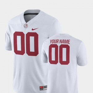 Alabama #00 Men's Customized Jerseys White Stitch College Football 2018 Game 566279-691