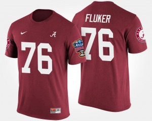 University of Alabama #76 Mens D.J. Fluker T-Shirt Crimson College Bowl Game Sugar Bowl 134776-833