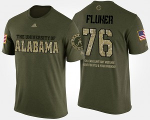 Bama #76 Mens D.J. Fluker T-Shirt Camo Short Sleeve With Message Military Embroidery 490244-132