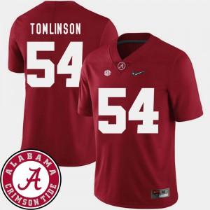 Alabama #54 Men's Dalvin Tomlinson Jersey Crimson NCAA College Football 2018 SEC Patch 568169-574