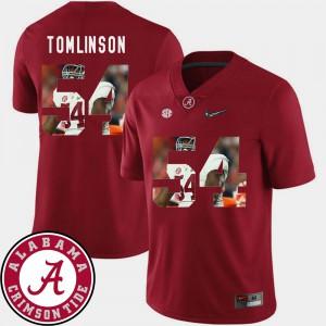 Bama #54 For Men Dalvin Tomlinson Jersey Crimson University Pictorial Fashion Football 879710-217
