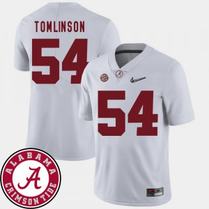 Roll Tide #54 For Men's Dalvin Tomlinson Jersey White 2018 SEC Patch College Football High School 198541-609
