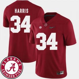 Bama #34 Men Damien Harris Jersey Crimson High School College Football 2018 SEC Patch 438671-288