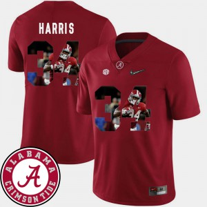 Alabama #34 For Men Damien Harris Jersey Crimson NCAA Football Pictorial Fashion 401146-358