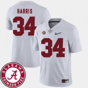 Alabama Roll Tide #34 For Men Damien Harris Jersey White 2018 SEC Patch College Football High School 757324-439