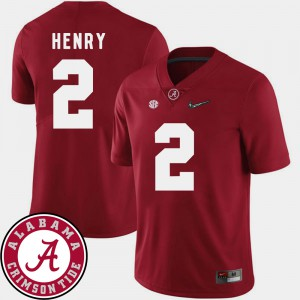 Bama #2 Mens Derrick Henry Jersey Crimson University 2018 SEC Patch College Football 491761-328