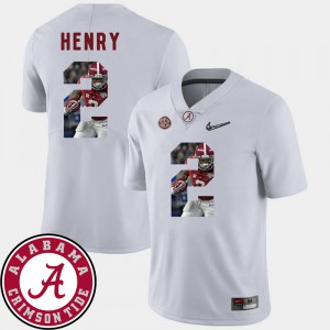 Bama #2 Men's Derrick Henry Jersey White Stitched Football Pictorial Fashion 685516-690