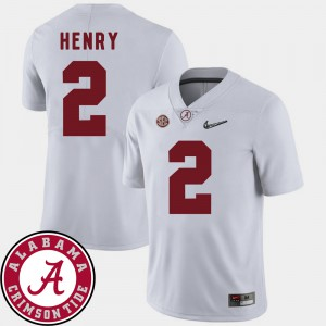 Bama #2 Men's Derrick Henry Jersey White Official 2018 SEC Patch College Football 925694-815