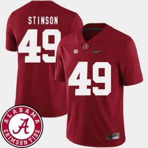 Alabama Crimson Tide #49 Men's Ed Stinson Jersey Crimson NCAA College Football 2018 SEC Patch 349290-379