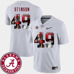 Alabama #49 For Men Ed Stinson Jersey White Official Pictorial Fashion Football 614052-126