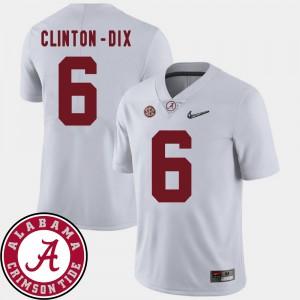 Bama #6 Men's Ha Ha Clinton-Dix Jersey White Player College Football 2018 SEC Patch 129745-795