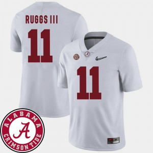 Bama #11 Men's Henry Ruggs III Jersey White College College Football 2018 SEC Patch 595047-575