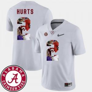 Alabama Roll Tide #2 Men Jalen Hurts Jersey White University Football Pictorial Fashion 503091-762