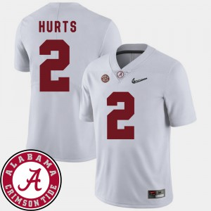 Alabama Crimson Tide #2 For Men Jalen Hurts Jersey White 2018 SEC Patch College Football Alumni 196947-141