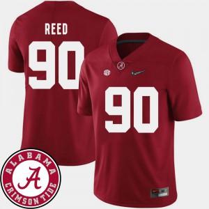Alabama Roll Tide #90 For Men Jarran Reed Jersey Crimson 2018 SEC Patch College Football High School 141588-648