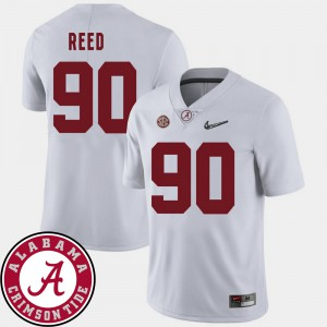 Alabama Roll Tide #90 For Men's Jarran Reed Jersey White College College Football 2018 SEC Patch 572310-849
