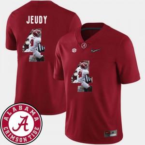 Alabama #4 Mens Jerry Jeudy Jersey Crimson High School Football Pictorial Fashion 381550-132