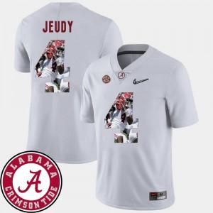 Bama #4 Mens Jerry Jeudy Jersey White Stitched Football Pictorial Fashion 116744-816