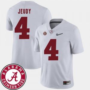 Alabama Crimson Tide #4 Men Jerry Jeudy Jersey White College College Football 2018 SEC Patch 407013-702