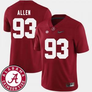 Alabama #93 Men Jonathan Allen Jersey Crimson 2018 SEC Patch College Football Alumni 739620-773