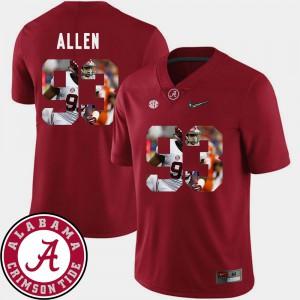 University of Alabama #93 For Men's Jonathan Allen Jersey Crimson Alumni Football Pictorial Fashion 377985-248