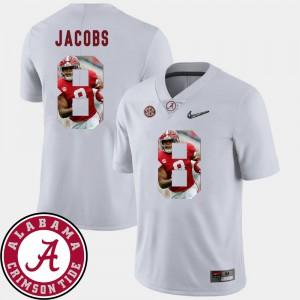 Roll Tide #8 For Men Josh Jacobs Jersey White Alumni Football Pictorial Fashion 427479-766
