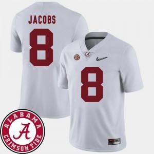 Bama #8 Men's Josh Jacobs Jersey White University 2018 SEC Patch College Football 185158-417
