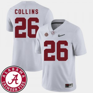 Bama #26 For Men's Landon Collins Jersey White 2018 SEC Patch College Football Official 119906-264
