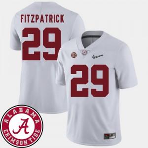 Bama #29 Men's Minkah Fitzpatrick Jersey White 2018 SEC Patch College Football Alumni 592315-772