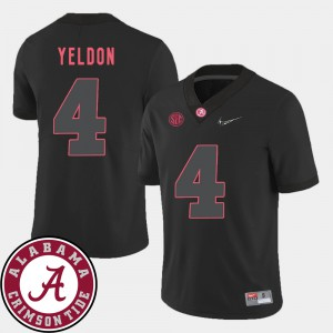 University of Alabama #4 Men T.J. Yeldon Jersey Black College 2018 SEC Patch College Football 611032-129