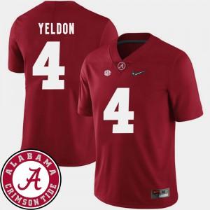 Bama #4 Mens T.J. Yeldon Jersey Crimson Player 2018 SEC Patch College Football 350296-940