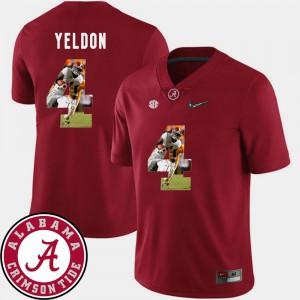Alabama Crimson Tide #4 Mens T.J. Yeldon Jersey Crimson Stitched Pictorial Fashion Football 950510-736