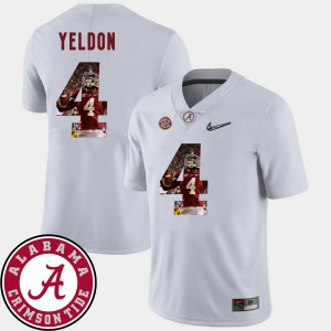 Alabama #4 For Men's T.J. Yeldon Jersey White High School Football Pictorial Fashion 988054-549