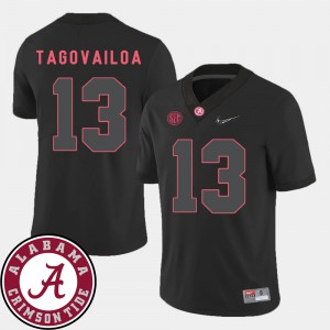 Alabama #13 Men's Tua Tagovailoa Jersey Black 2018 SEC Patch College Football Stitched 410802-778