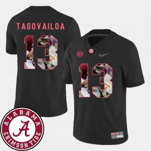 Alabama Roll Tide #13 Men's Tua Tagovailoa Jersey Black Football Pictorial Fashion Embroidery 660558-793
