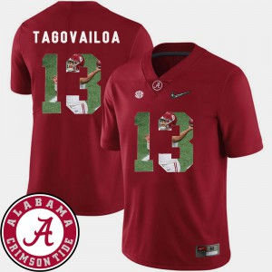 Alabama #13 For Men Tua Tagovailoa Jersey Crimson Football Pictorial Fashion Stitched 628076-986