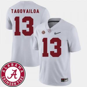 Alabama Crimson Tide #13 Men Tua Tagovailoa Jersey White NCAA College Football 2018 SEC Patch 600471-633