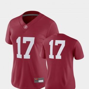 Alabama Roll Tide #17 Women's Jersey Crimson College 2018 Game College Football 254799-688
