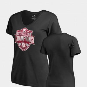 Bama For Women T-Shirt Black College V-Neck 2018 SEC Football Champions 326412-809