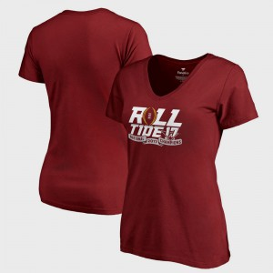 Bama For Women's T-Shirt Crimson Stitch College Football Playoff 2017 National Champions V-Neck Neutral Zone Bowl Game 869514-642