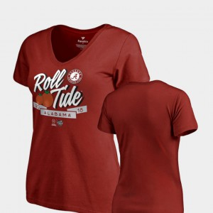 Roll Tide Women's T-Shirt Crimson College 2018 Orange Bowl Bound Dime V-Neck College Football Playoff 983056-601