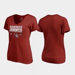 Alabama Crimson Tide Womens T-Shirt Crimson College Endaround V-Neck College Football Playoff 2018 Orange Bowl Champions 808238-678
