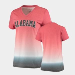 Roll Tide Womens T-Shirt Crimson High School V-Neck Ombre 360939-180