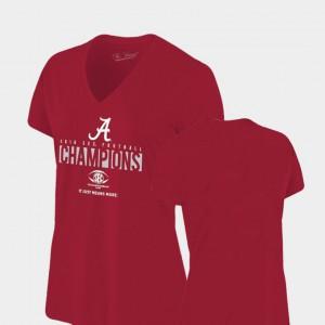 Alabama Crimson Tide Women's T-Shirt Crimson College 2018 SEC Football Champions Locker Room V-Neck Original Retro Brand 183602-333