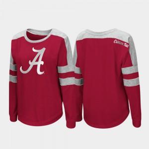 Alabama Women's T-Shirt Crimson College Long Sleeve Trey Dolman 323749-146