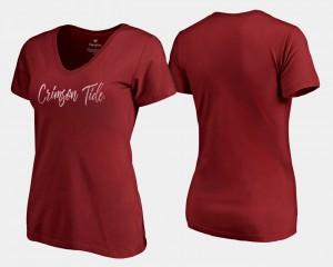 University of Alabama Women T-Shirt Crimson High School V-Neck Graceful 241271-401